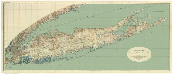 Topographic Map Long Island.Topographic Map Of Long Island New York 1913 Bien Map Etsy