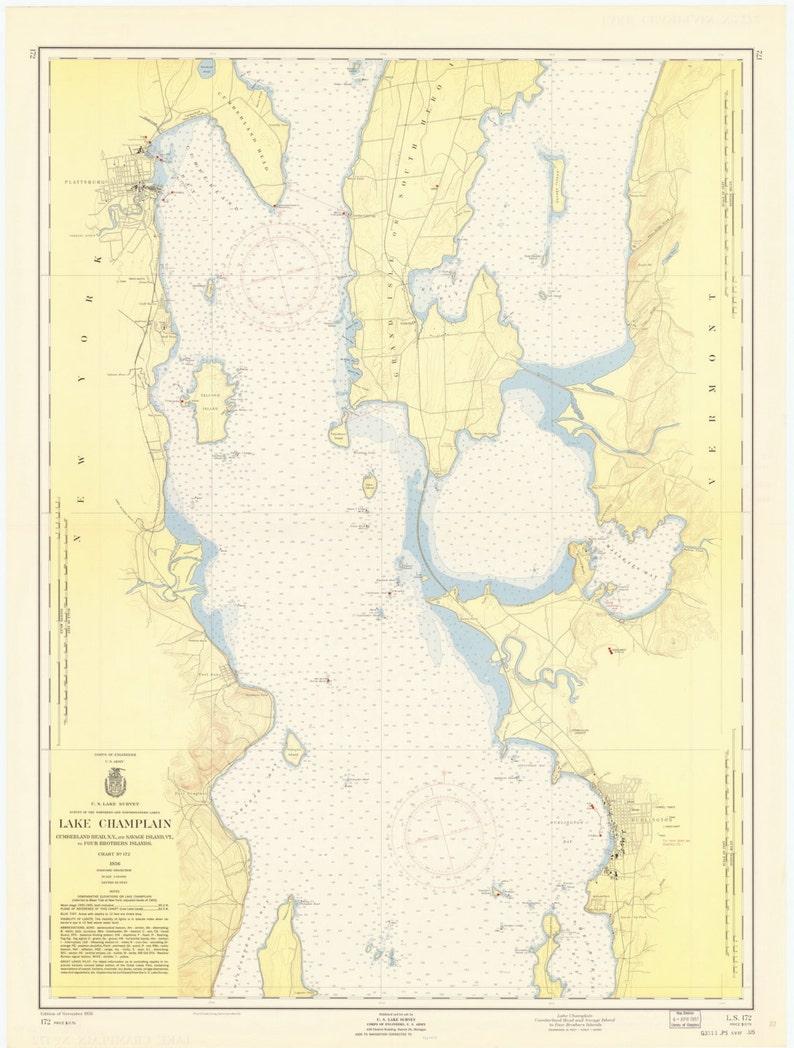 Lake Champlain Plattsburgh Ny Burlington Vt 1957 Etsy - Lake-champlain-on-us-map