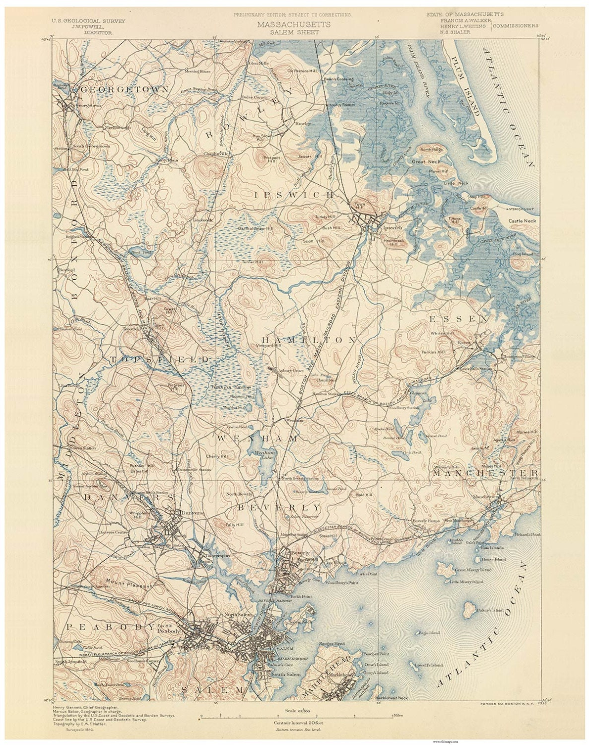 Salem 1890 Old Topo Map Georgetown Ipswich Marblehead Beverly Etsy - Us-geodetic-maps