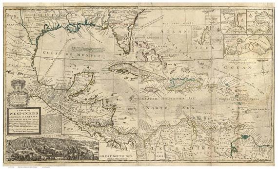 Map Of Florida Cuba And Puerto Rico.Caribbean 1715 Map By Moll Reprint Cuba Puerto Rico Etsy