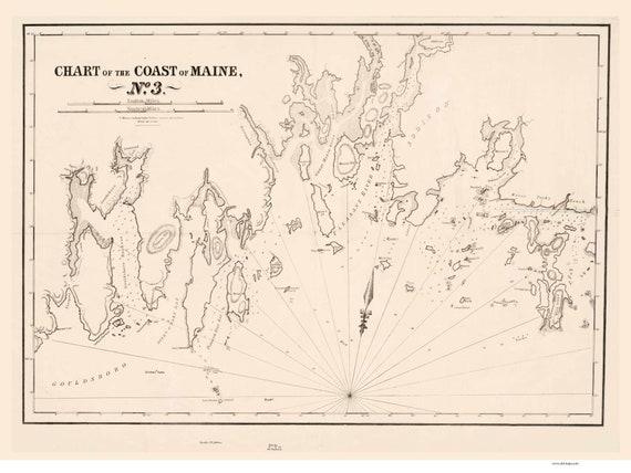 Gouldsboro To Jonesport 1837 Old Map Reprint Maine 1837 Etsy