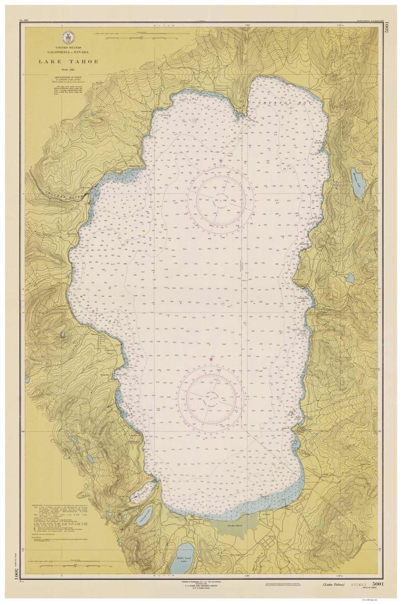 Lake Tahoe 1951 Inland Lakes Nautical Map Reprint | Etsy on