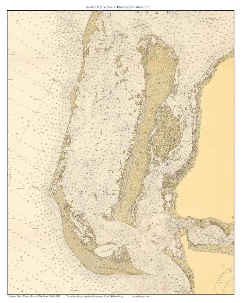 Sanibel Island & Pine Island 1918 Nautical old Map Florida - Custom 80000  175 - Reprint