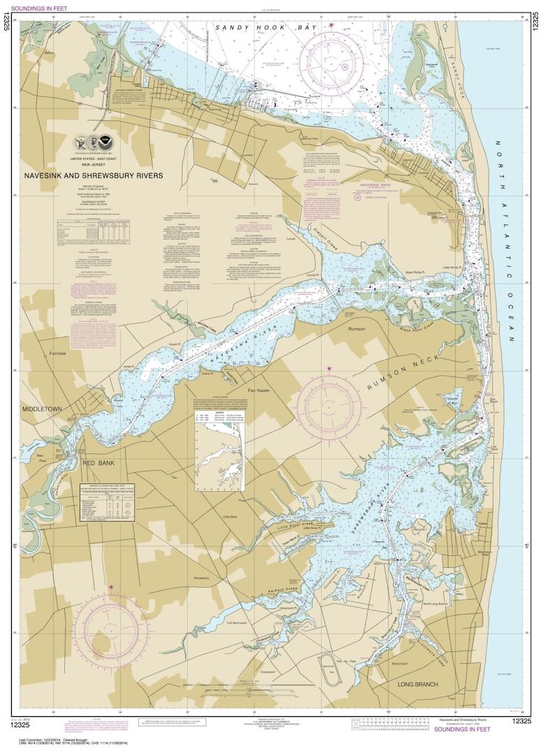 Navesink and Shrewsbury Rivers 2014 Nautical Map New | Etsy