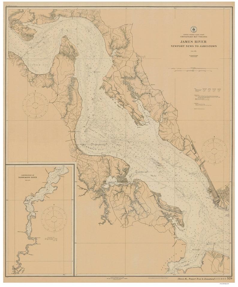 James River Newport News To Jamestown 1920 Nautical Map Etsy