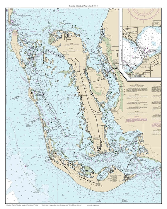 Sanibel Island & Pine Island 2015 Nautical Map Florida - Custom Print 80000  11426 - Reprint