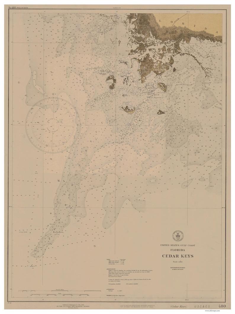 Cedar Keys 1930 Map Old Nautical Chart Florida Harbors | Etsy on