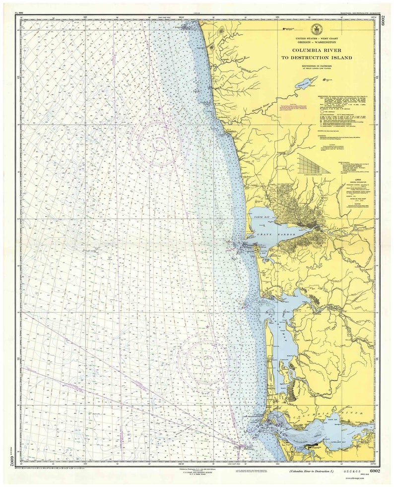 Columbia River To Destruction Island 1953 Nautical Map Etsy - Columbia-river-map-us