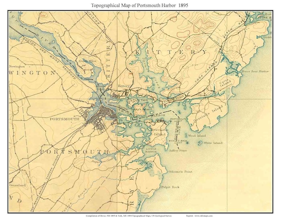 Portsmouth Harbor 1895 Old Topographic Map USGS - Custom Composite Reprint  New Hampshire Maine
