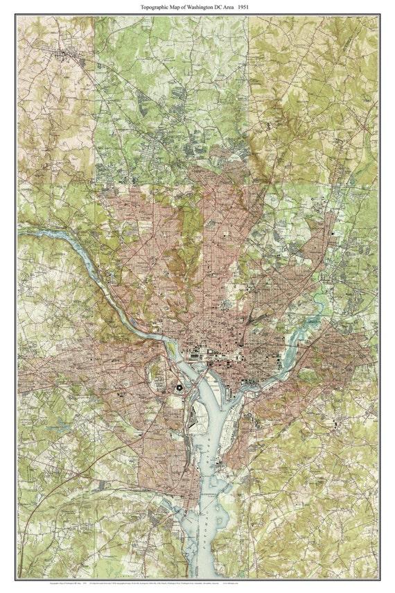 Topographic Map Washington Dc.Washington Dc Area 1951 Old Topographic Map Usgs Custom Etsy
