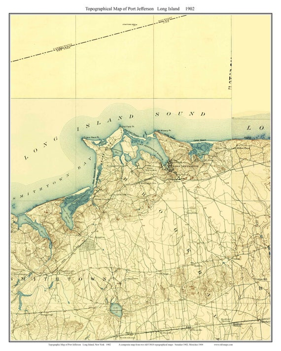 Topographic Map Long Island.Port Jefferson 1902 Long Island New York Old Usgs Topo Map Etsy