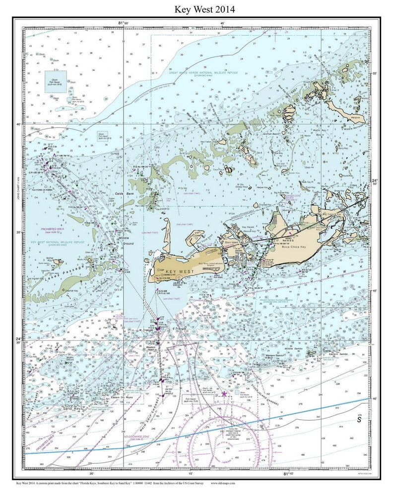 graphic regarding Printable Map of Florida Keys titled Higher Florida Keys 2014 - Nautical Map Florida - Tailor made Print - 1:80000 - Reprint