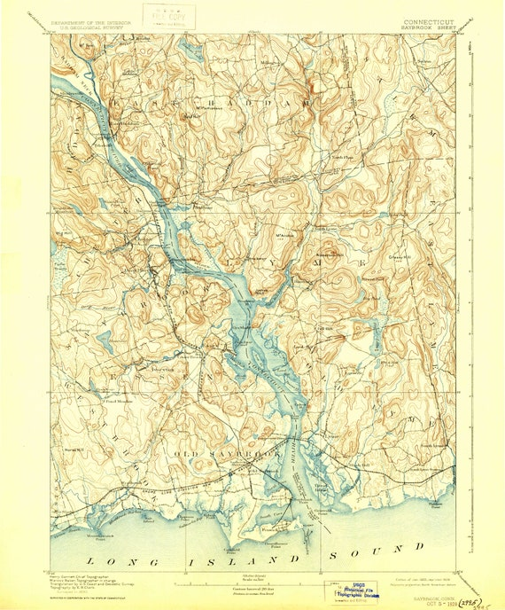 Topographic Map Long Island.Saybrook 1893 1929 Old Topo Map Old Lyme Long Island Sound Etsy