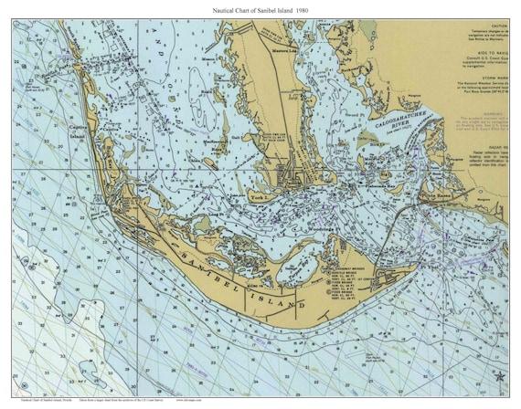 Sanibel Island Map: Sanibel Island 1980 Nautical Map Florida Custom Print