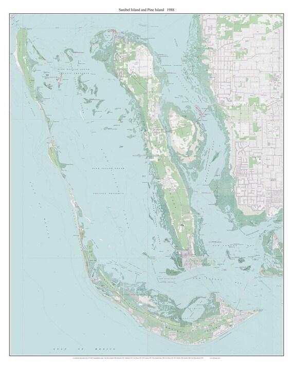 Sanibel Island and Pine Island Florida 1988 Old Topo Map A | Etsy