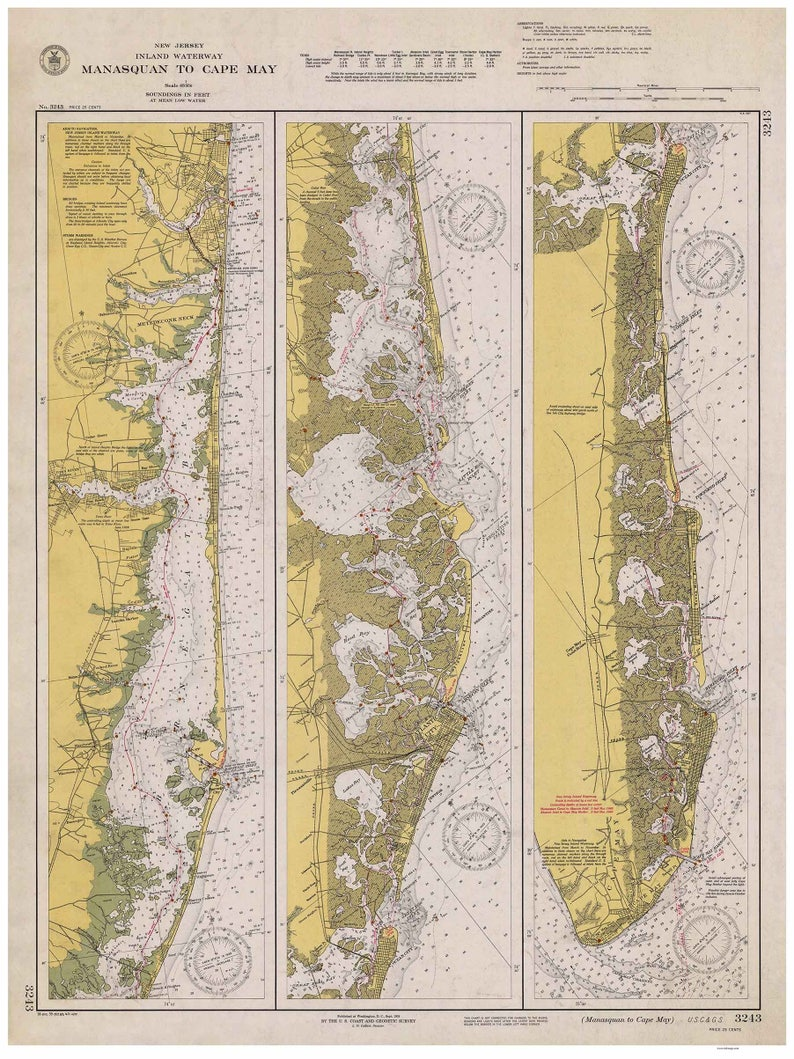 Manasquan to Cape May - 1940 Nautical Map - New Jersey Harbors 2 3243  Reprint - Inland Waterway