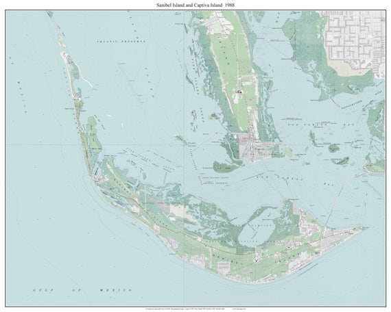 Sanibel Island & Captiva Island Florida 1988 Old Topo Map A | Etsy