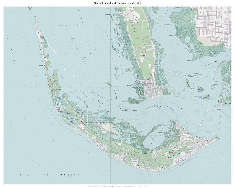 Sanibel Island Map: Sanibel Island & Captiva Island Florida 1988 Old Topo Map