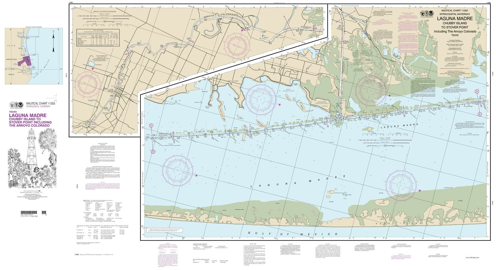 Map Of Texas 2014.Chubby Island To Stover Point 2014 Nautical Map Texas Reprint Ac Harbors 11303
