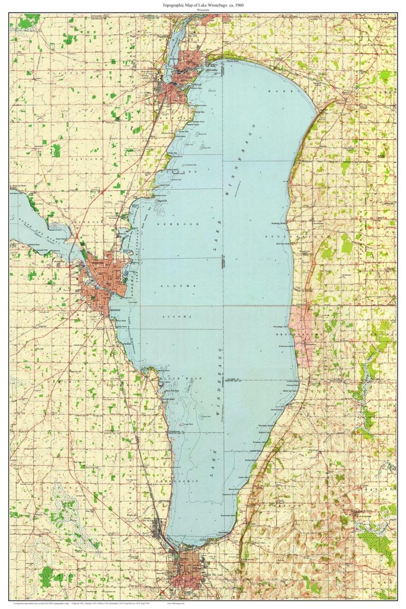 Lake Winnebago Ca 1960 Old Topographic Map Usgs Custom Etsy