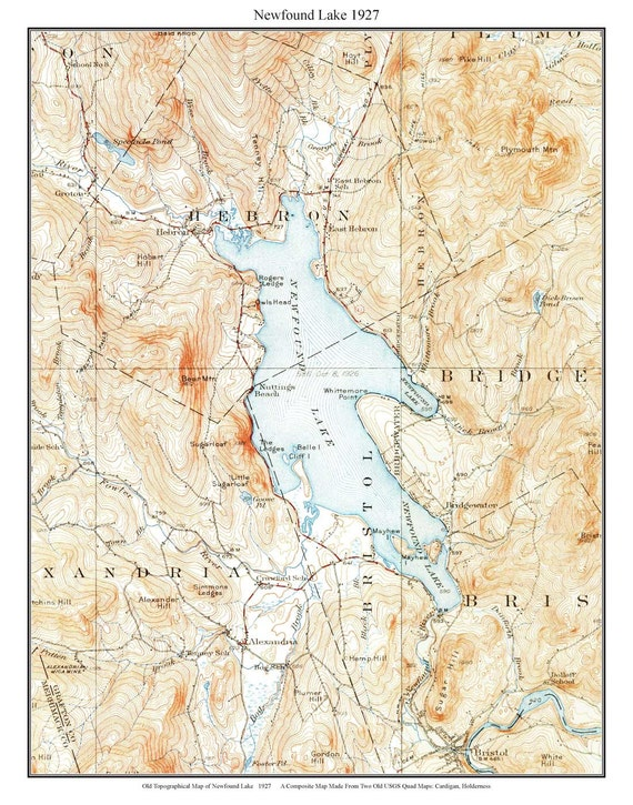 Newfound Lake 1927 Old Topographic Map by USGS Custom | Etsy