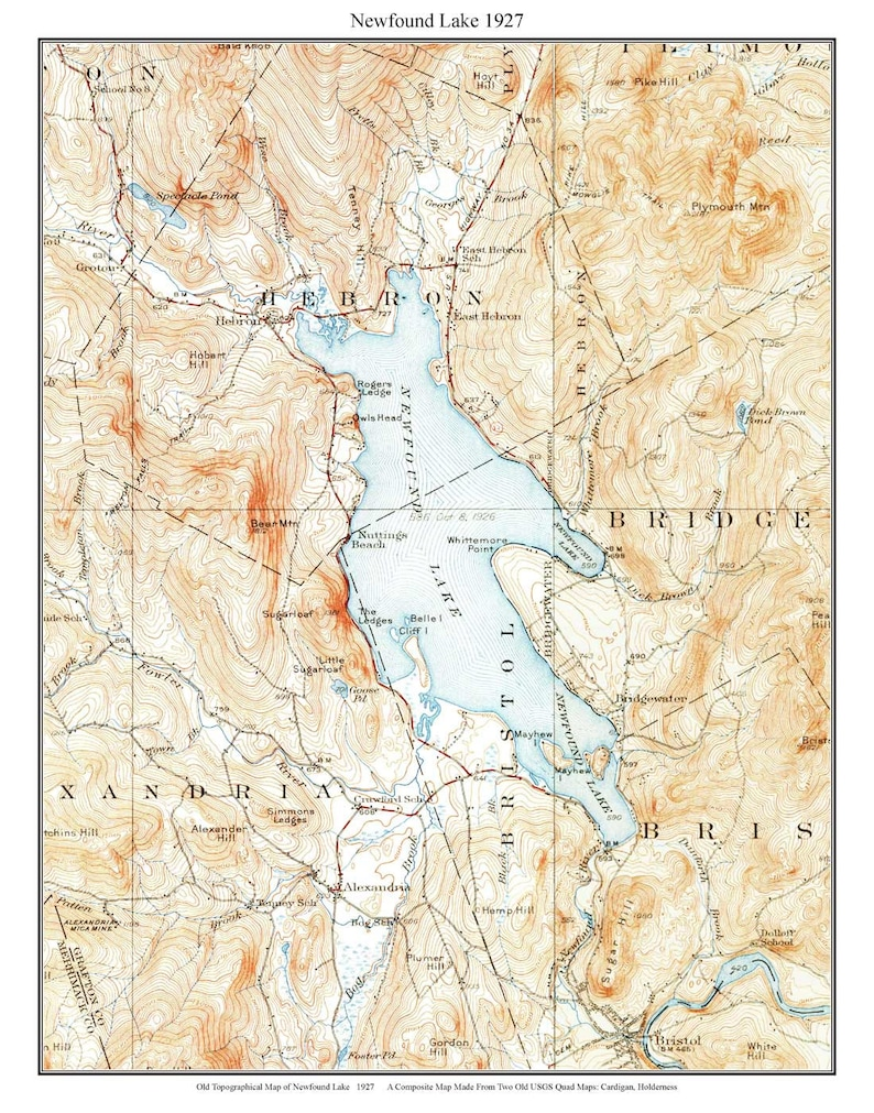 Honduras Topographic Map.Newfound Lake 1927 Old Topographic Map By Usgs Custom Etsy