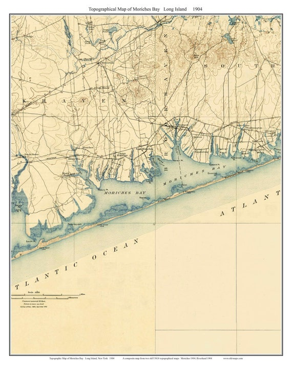 Topographic Map Long Island.Moriches Bay 1904 Long Island New York Old Usgs Topo Map Etsy