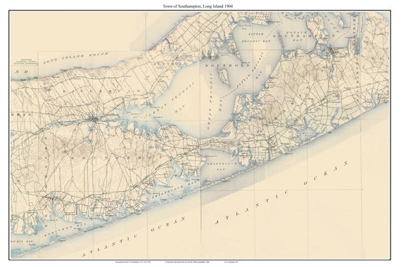 Topographic Map Long Island.Southampton 1904 Long Island New York Old Usgs Topo Map Etsy