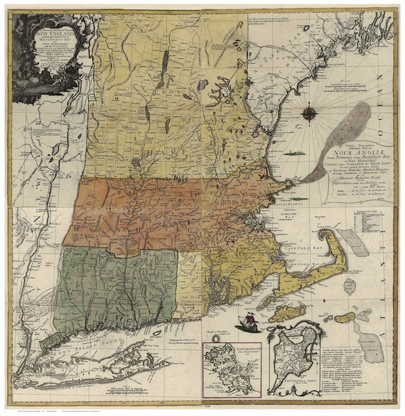 Old New England Map.New England 1779 Old Map Map Probst Ne Maps Etsy