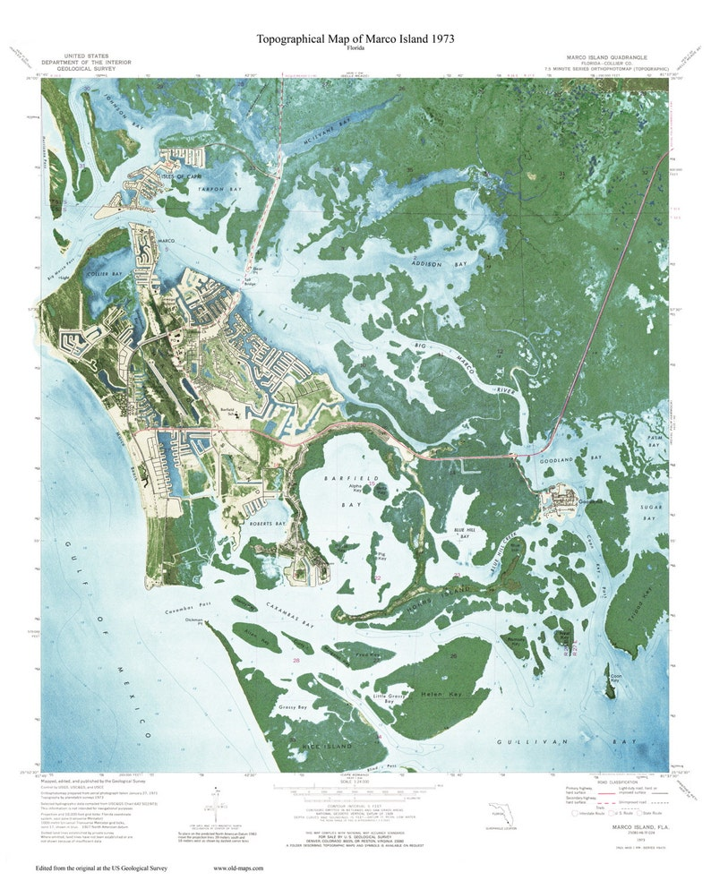 Marco Island Florida 1973 Usgs Custom Old Topo Map West Etsy