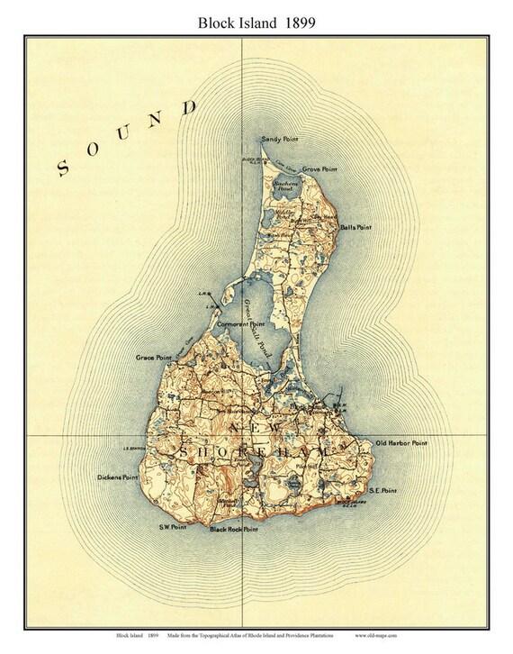 Topographic Map Rhode Island.Block Island 1899 Topographic Map Rhode Island Custom Etsy