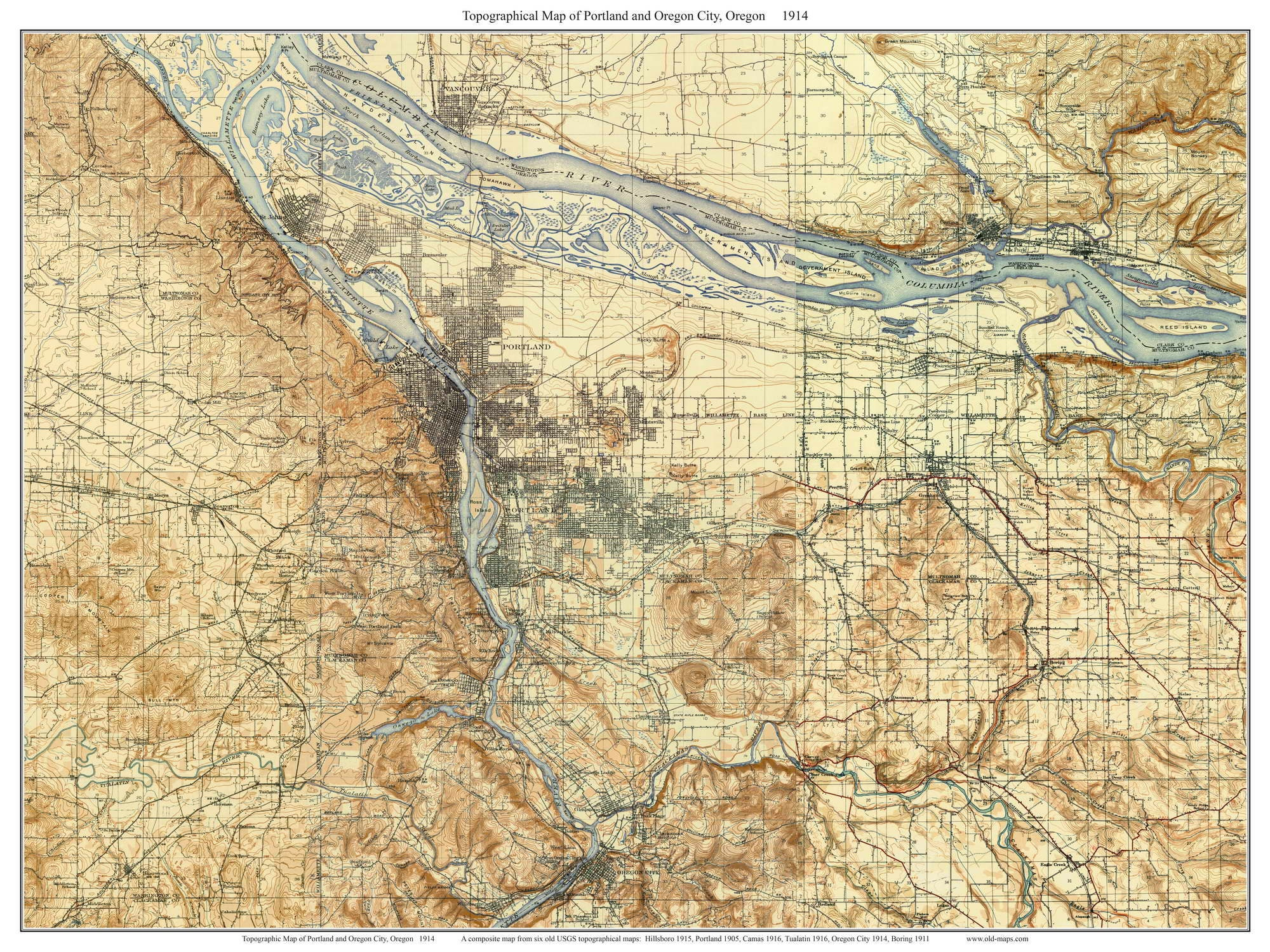 Portland And Oregon City 1914 Old Topographic Map Usgs Etsy