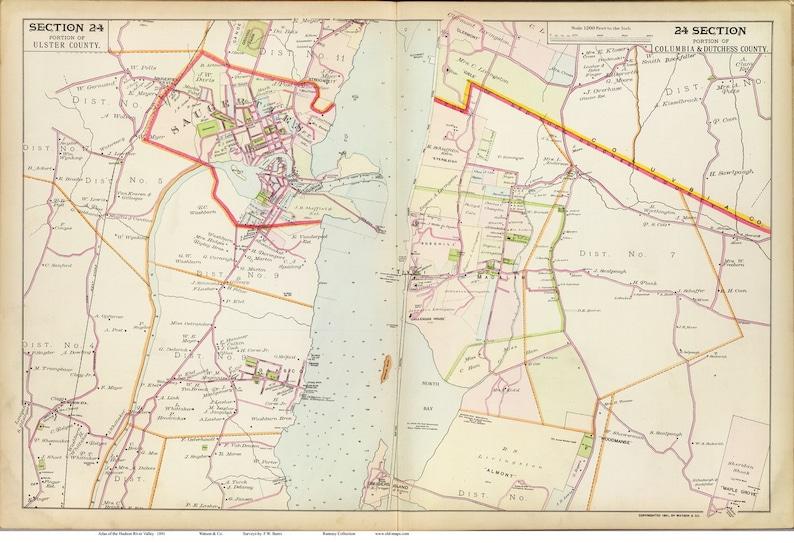 Saugerties Red Hook 1891 Map Reprint Hudson Valley New York