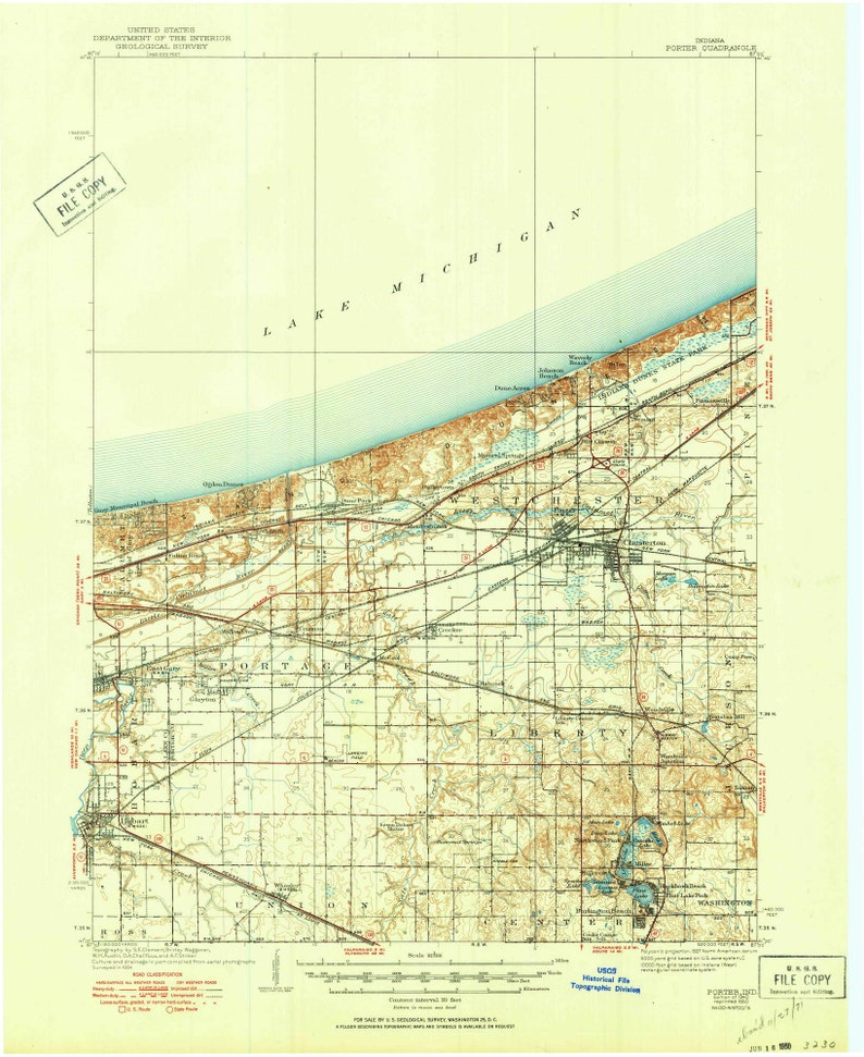Porter 1940 (1950) Old Topo Map Chesterton East Gary Indiana Dunes on indiana toll road map, fishers indiana map, northwest indiana map, decatur indiana map, burket indiana map, gas city indiana map, helmsburg indiana map, merrillville indiana map, hammond indiana map, kentland indiana map, michigan city indiana map, pittsburgh indiana map, indianapolis indiana map, south bend indiana map, detailed indiana road map, remington indiana map, greensboro indiana map, wisconsin indiana map, crown point indiana map, chicago map,