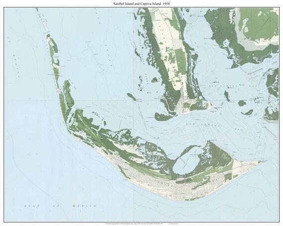 Sanibel Island & Captiva Island Florida 1958 Old Topo Map A   Etsy