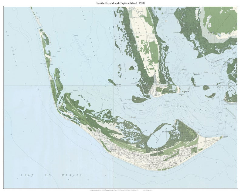 Sanibel Island Captiva Island Florida 1958 Old Topo Map Etsy