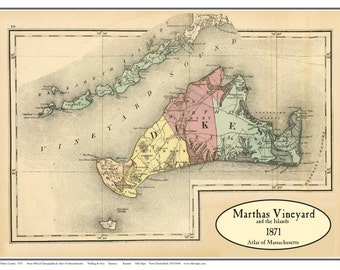 Martha's Vineyard 1871 Map  - Walling and Gray Atlas - Reprint Massachusetts