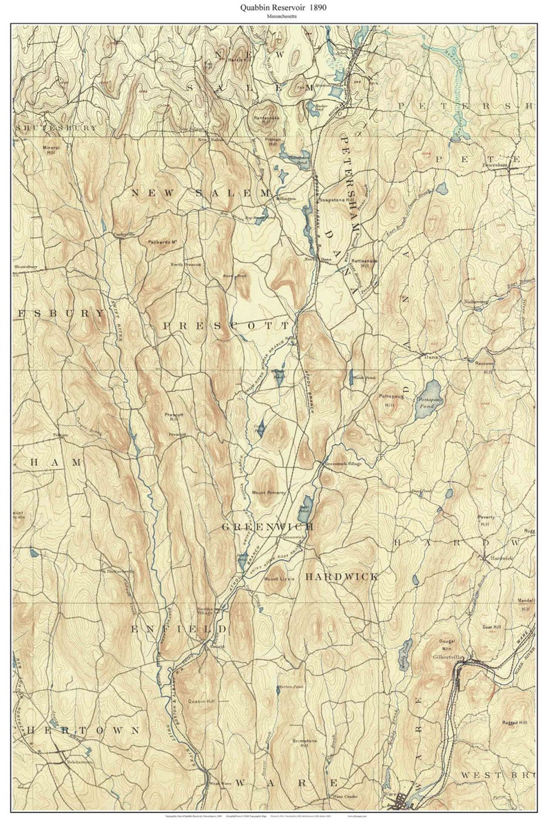 Quabbin Reservoir 1890 USGS Old Topographic Map BEFORE the | Etsy on