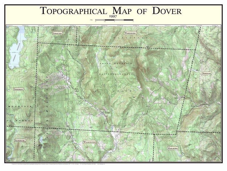 Dover Vermont 1997 Old Topographic Map Usgs Topo Custom Etsy