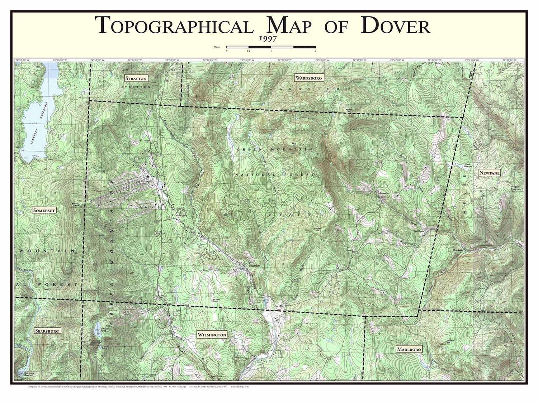 Topographic Map Vermont.Dover Vermont 1997 Old Topographic Map Usgs Topo Custom Etsy
