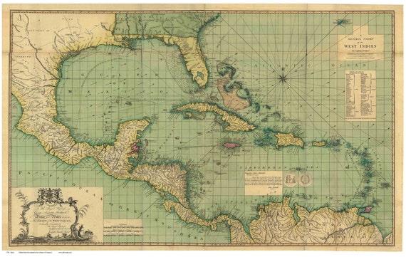 Map Of Florida Cuba And Puerto Rico.Caribbean 1796 Map By Speer Reprint Cuba Puerto Rico Etsy