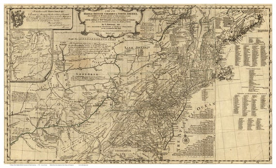 Middle British Colonies In America 1776 Map Colonial Usamap Etsy