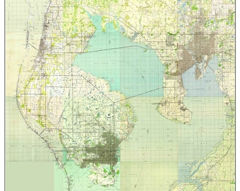 Tampa Bay, Florida 1945 Old Topo Map - A Composite made from 15 USGS Topographical Maps -  Custom Reprint