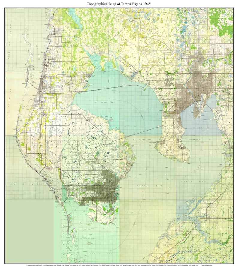 Tampa Bay Florida 1945 Old Topo Map A Composite made from   Etsy