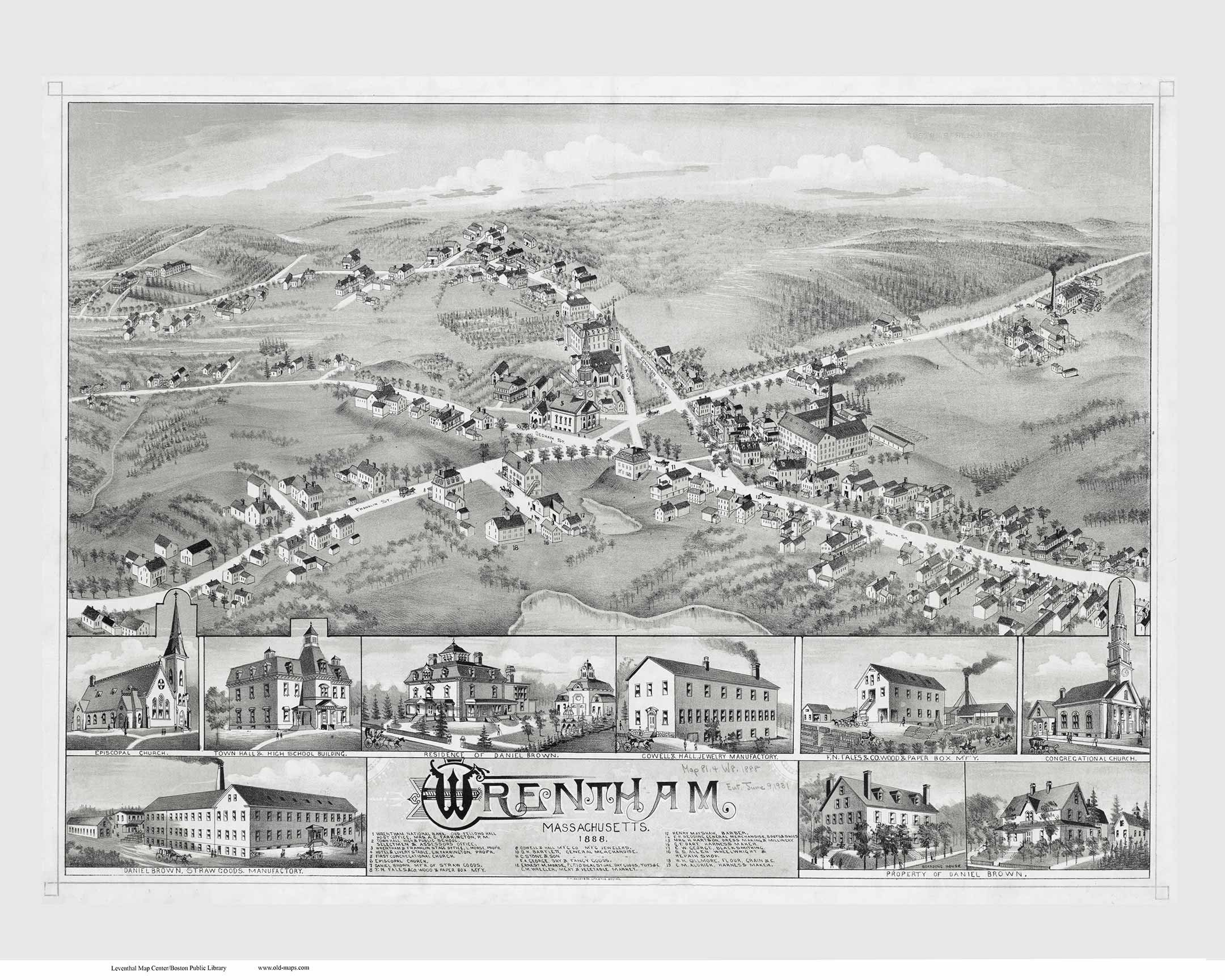 Wrentham Massachusetts 1888 Birds Eye View Ma Reprint Etsy
