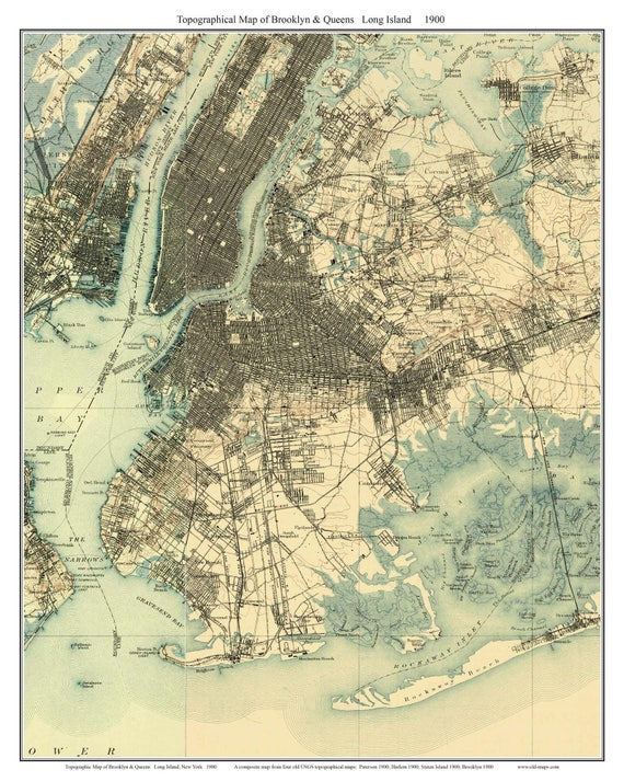 Brooklyn Queens 1900 Long Island New York Old Usgs Topo Etsy