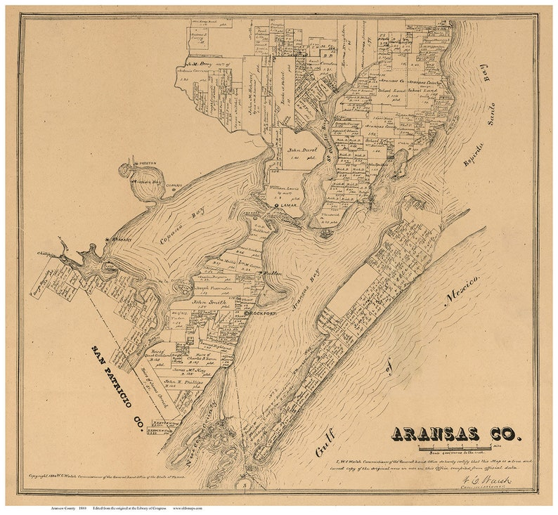 Aransas County, Texas - 1880 - Old Wall Map Reprint With Land Owners on map of galveston texas, map of austin texas, map of fulton texas, map of laredo texas, map of united states texas, map of port aransas texas, map of mustang island texas, map of port arthur texas, map of nueces river texas, map of lamar texas, map of sinton texas, map of kingsville texas, map of corpus christi texas, map of copano bay texas, map of south texas, map of texas texas, map of se texas, map of laguna madre texas,