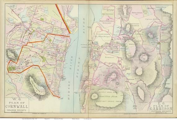 Garrison New York Map.Cornwall Garrison 1891 Map Reprint Hudson Valley New York Etsy