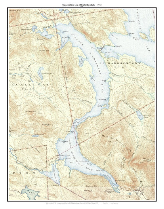 Topographic Map Usgs.Richardson Lake 1942 Old Topographic Map Usgs Custom Etsy