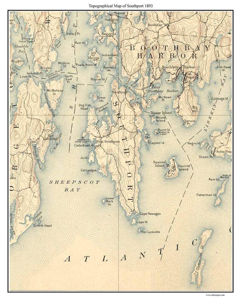 Southport 1893 Old Topographic Map Usgs Custom Reprint Maine Etsy